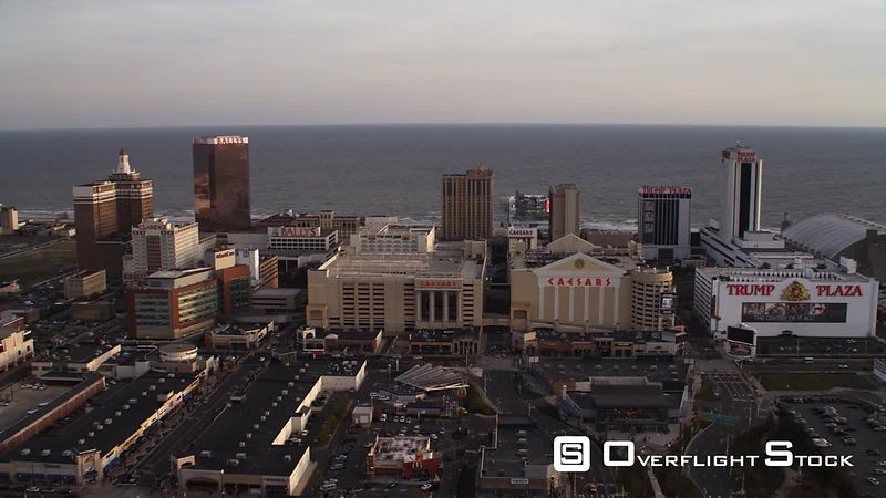 Orbiting casino resorts in Atlantic City, New Jersey, looking seaward. Shot in November