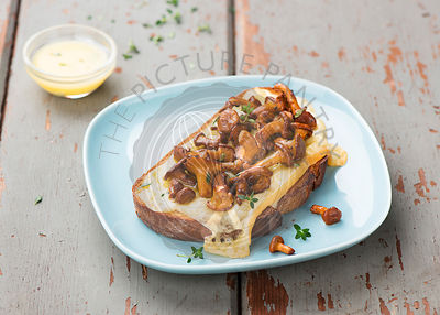 Chanterelle sandwiches with cheese