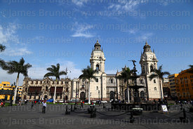 View of Plaza de Armas and cathedral, Lima, Peru