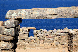 Stone doorway and lintel in the Chincana Inca ruins, Sun Island, Lake Titicaca, Bolivia