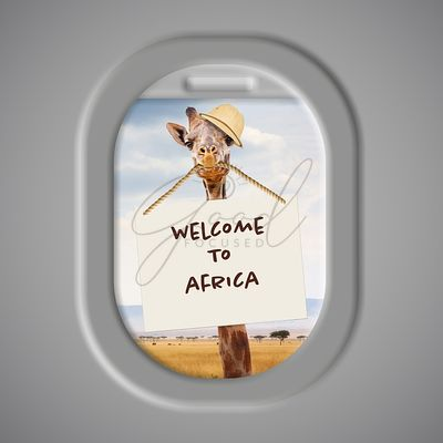 Giraffe Welcome To Africa From Airplane Window