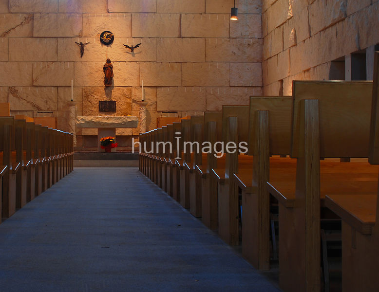 Center aisle in a Catholic church chapel