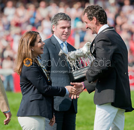FEI President HRH Princess Haya hugs Mark Todd at Badminton Horse Trials