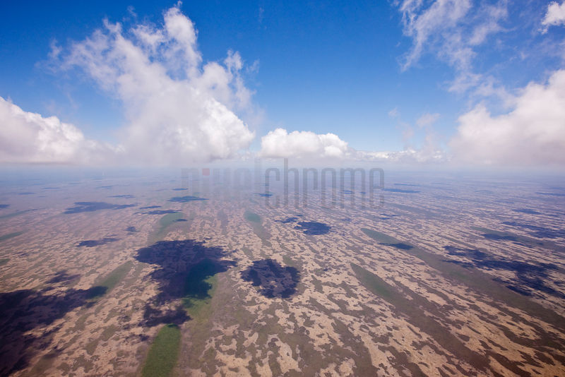 Aerial view of Florida Everglades from a commercial jet