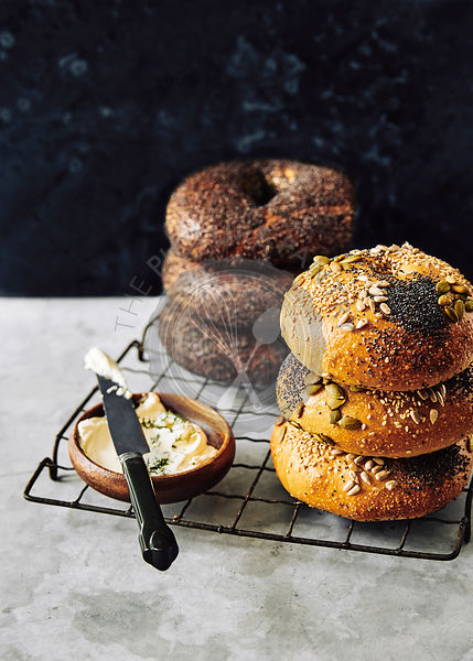Gourmet seeded bagels, with cream cheese