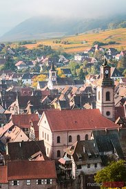 High angle view of Riquewihr town, Alsace, France