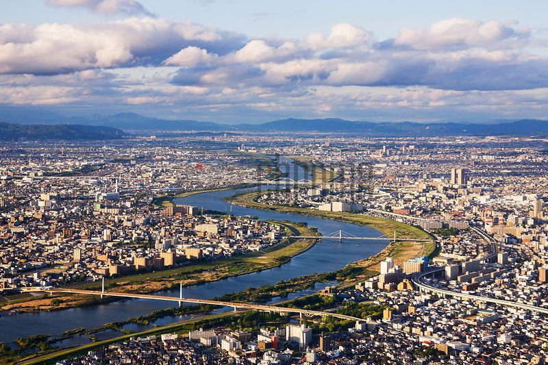 Aerial Japanese Cityscape and River
