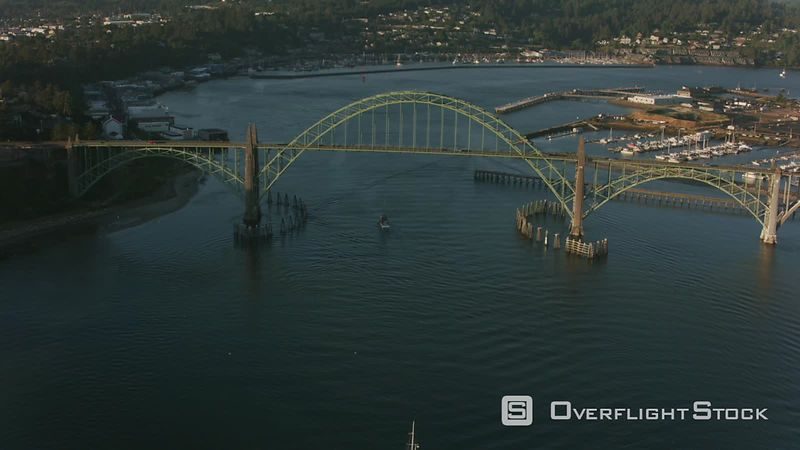 Newport, Oregon Aerial shot of Yaquina Bay Bridge.  Shot with Cineflex and RED EpicW Helium.
