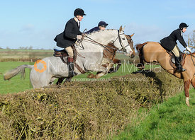 Willie Reardon jumping a hedge at Mrs Greenall's covert