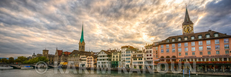Panorama - Dramatic sunset with colorful building - Zurich