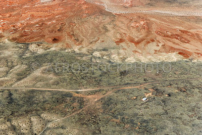 Erosional landscape near Box Spring, in the top left  we see the Little Colorado River,  Painted Desert, Navajo Nation,  Arizona, USA.