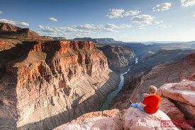 Tourist at overlook on Colorado river, Grand Canyon
