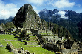 Huayna Picchu peak, main plaza and residential sector,  Machu Picchu, Peru