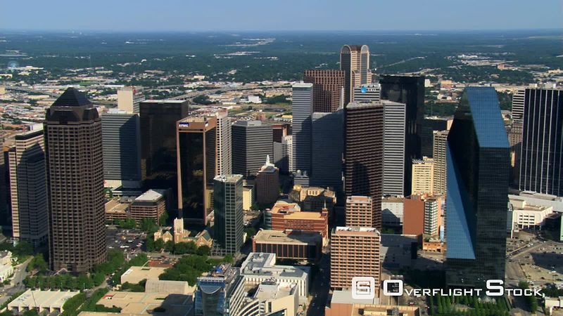 Flying over high-rises in Dallas, Texas.