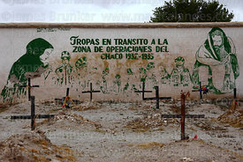 Mural and graves of soldiers who died in Chaco War in cemetery, Uyuni, Bolivia