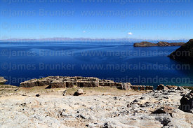 View over the Chincana Inca ruins, Sun Island, Lake Titicaca, Bolivia