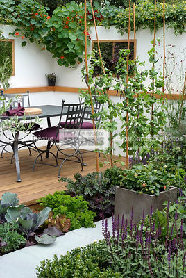 Contemporary garden, Garden chair, garden designer, Garden furniture, Garden table, Mini potager, Mini Vegetable garden, Parsley, Small garden, Support, Tropaeolum majus, Urban garden, Wooden Terrace, Digital, Ironwork