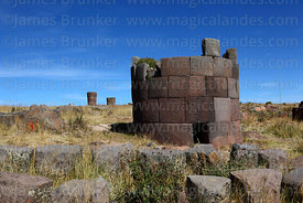 Base of cut stone Inca period chulpa / burial tower, Sillustani, Peru