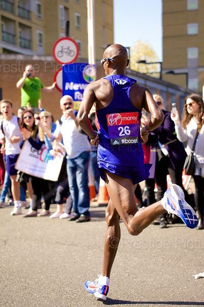 Britain's Double Gold Medallist Mo Farah in London Running his first ever Marathon