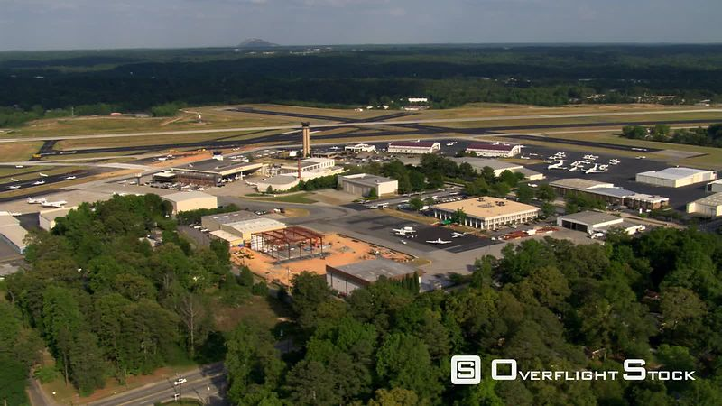 Wide aerial view of DeKalb Peachtree Airport near Atlanta, Georgia.