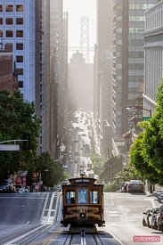 Cable car in California street, San Francisco, California, USA