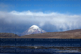 Lake Chungará and storm clouds over Sajama volcano, Lauca National Park, Region XV, Chile