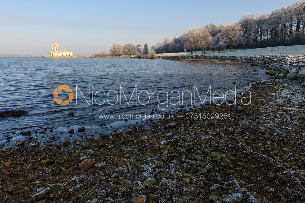 Normanton Church and Rutland Water on a frosty winter morning, Rutland