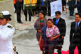 Guatemalan indigenous rights activist Rigoberta Menchú accompanies members of DIREMAR during official events for Dia del Mar / Day of the Sea, La Paz, Bolivia