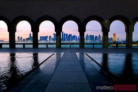 The modern city of Doha at sunset, Qatar