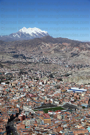 Former Bolivar football stadium in Tembladerani , Mt Illimani in background , La Paz , Bolivia