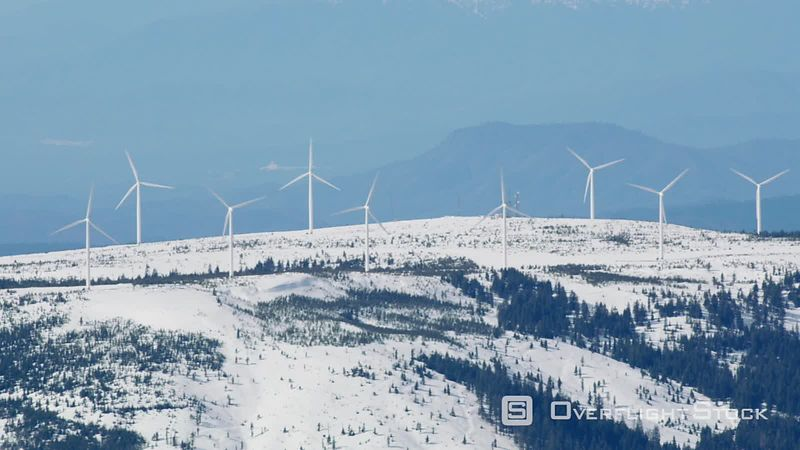 Aerial view of wind turbines in northern California mountains