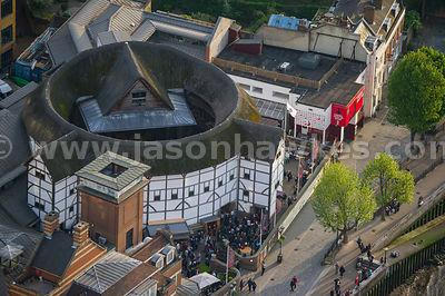 Aerial view of Shakespeare's Globe Theatre, South Bank, London