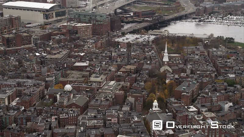 Tilt-down on Boston's North End. Shot in November