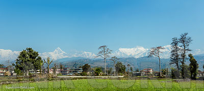 Panoramic view of Annapurna range from Pokhara