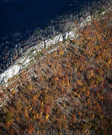 Aerial photograph of cliffs along a West Virginia Ridge Line.