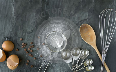 Ingredients and utensils on slate