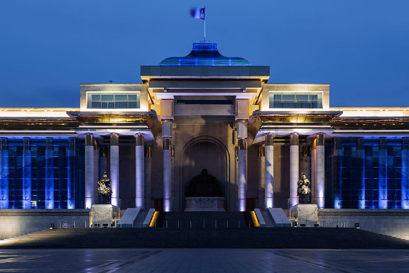 Chinggis Khan Square at night