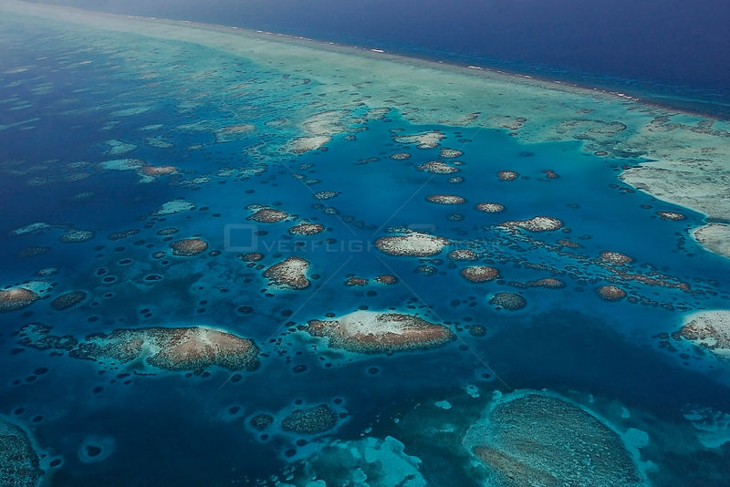 Aerial view of southern Belize barrier reef, showing Gladden Spit and Silk Cayes Marine Reserve. UNESCO Natural World Heritage Site, Belize, Central America. Caribbean Sea.