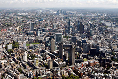 aerial photograph of the City of London taken from the  West looking East with Aldersgate St, London EC1A 4HY and the Barbican in the foreground. Also in the foreground are Beech St, London EC2Y 8AD , Golden Ln, London EC1Y 0UA and Charterhouse Square, London EC1M 6AX