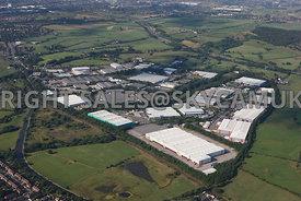 Oldham aerial photograph of the Stakehill Industrial Estate looking towards the A627(M) and the M62 motorway in the distance
