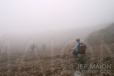 Descending a grass slope in the fog