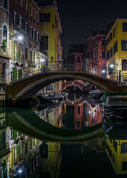 Venetian Bridge and Canal at Night
