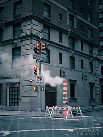 Smoke from street work ventilation pipe