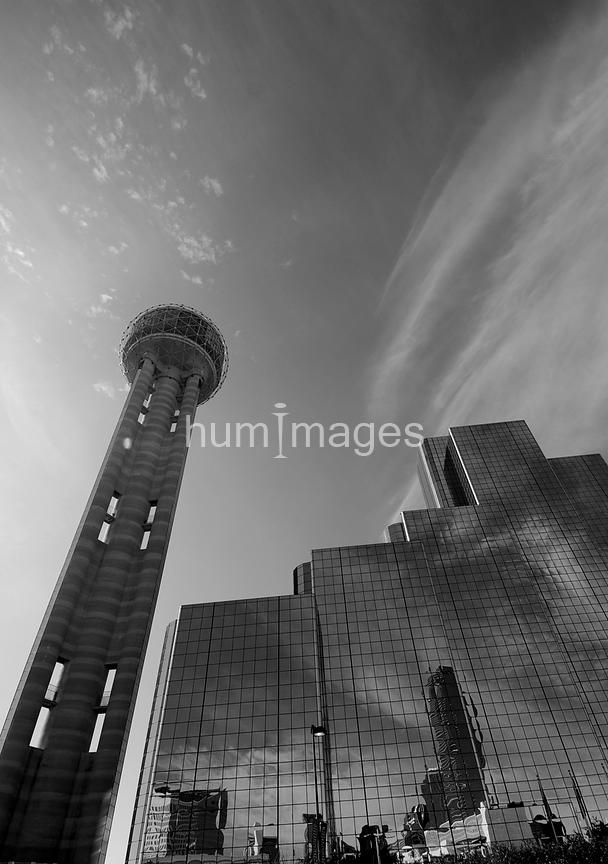 Reunion Tower and Downtown Dallas Hyatt Regency Hotel [BW]