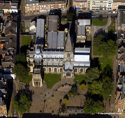 aerial photograph of Sheffield Cathedral