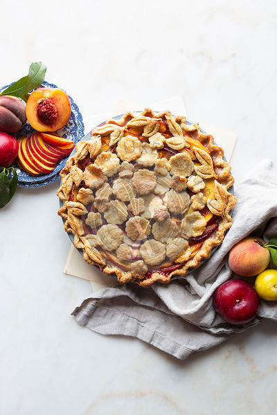 Homemade stone fruits pie