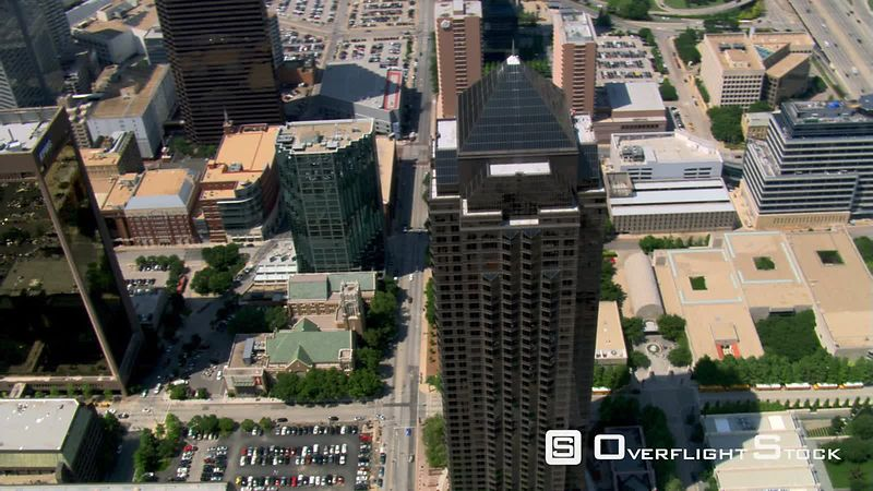 Looking down onto Trammell Crow Tower in Dallas, Texas