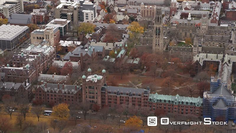 Over New Haven Green and Yale University in New Haven, Connecticut. Shot in November