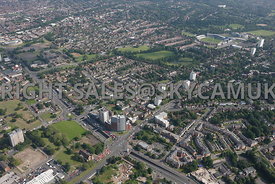 Birmingham high level aerial photographs of the area surrounding Belgrave and Middleway and Bristol Road with Edgebaston Cricket ground in the background