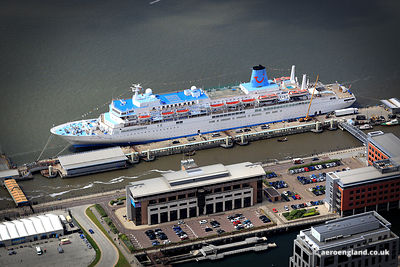 aerial photograph of the Cruise ship Thomson Spirit berthed in  Liverpool Merseyside England UK